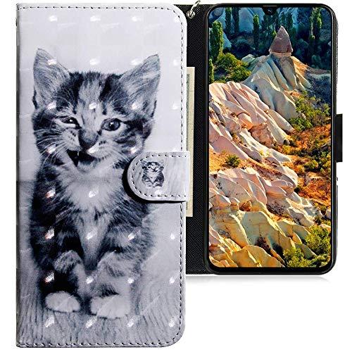 CLM-Tech Hülle kompatibel mit Samsung Galaxy A70 - Tasche aus Kunstleder - Klapphülle mit Ständer & Kartenfächern, Katze schwarz weiß