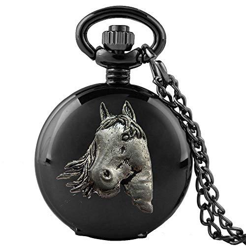 Reloj de bolsillo de cuarzo A1 con diseño de cabeza de caballo en una caja negra pulida para hombre