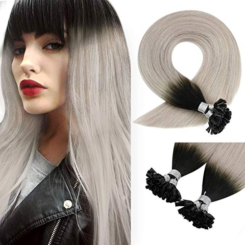 Sunny U Tip Hair Extensions Ombre,20inch Hot Fusion Hair Extensions Human Hair Natural Black Ombre Gray Pre Bonded U Tip Total 50G