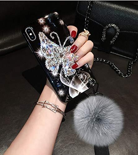 LIUYAWEI para iPhone 7 Plus Estuche Diamond Butterfly Hairball Wristband Estuches para iPhone 12 Mini 11 Pro XS MAX XR 8 6S Plus SE Shell, Blanco, para iPhone 11 Pro