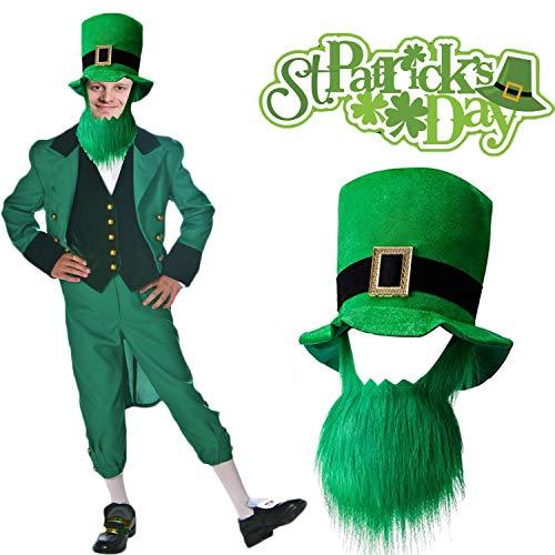 Scoolr Sombrero del da de San Patricio con barba, disfraz del Da de San Patricio Verde Leprechaun Top Hat y barba para hombres y mujeres
