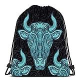 Ahdyr Cordon de Serrage Sac à Dos Bull Vache Ellement Clipart pour l'école ou Les Voyages