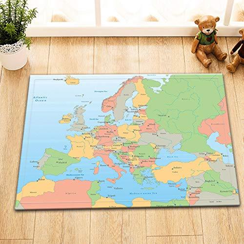 dsgrdhrty Europäische Kartenländer und dte Tragbare Karikatur HD der Badezimmermatte