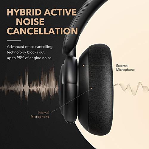 Cuffie ibride Soundcore Anker Life Q30 canc. attiva rumore mod. multiple, suono alta ris, 40 ore di ripr, chiamate chiare, ric. rapida, auricolari morbidi, cuffie Bluetooth, viaggi, ufficio e casa