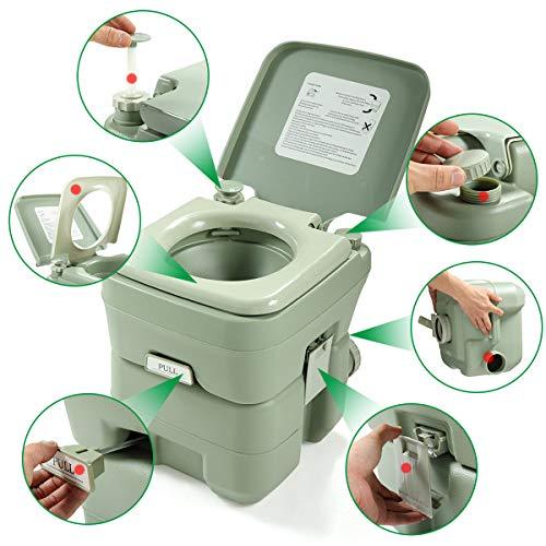 JAXPETY Outdoor 5.3 Gallon 20L Flush Travel Camping Portable Toilet for Hinking, Boating, Caravan, Campsite, Hospital (Greenish Gray)