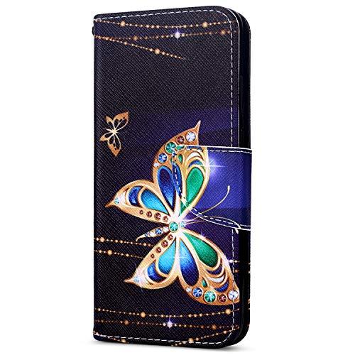 EUWLY Kompatibel mit Huawei Y7 2018 Flip Wallet Brieftasche Hülle Leder Bookstyle Handyhülle Tasche Handytasche Magnetverschluss Hülle Ledertasche Klapphülle Kartenfächer,Schmetterling