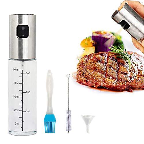 Sinogoods Ölsprüher Flasche, Edelstahl 304 Öl Sprüher, Öl Sprühflasche Glas, für Kochen, Grillen, Pasta, Salate, Backen und Braten