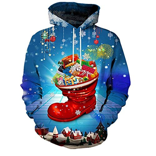 Onemopie Unisex Novelty Christmas Print Funny Hoodies Casual Pullover Hooded Sweatshirt for Men Women,2020 Couples Lovers Blouse Tops Shirt