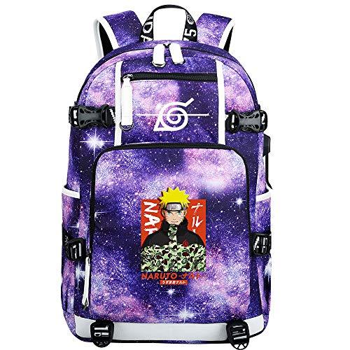 ZZGOO-LL Uzumaki Naruto/Sharingan USB Anime Laptop Backpack Bag Travel Mochilas Daypacks Bolso Ligero-H
