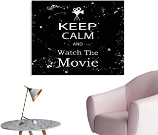 Tudouhoho Keep Calm Funny Poster Watch The Movie Quote for Film Buffs Grungy Weathered Backdrop with Old Camera Art Stickers Black White W32 xL24