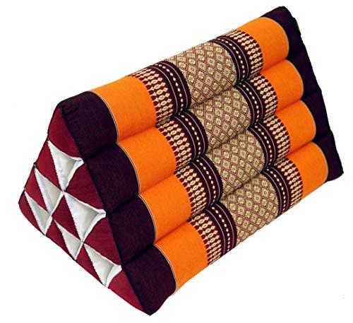 Guru-Shop Dreieck Thaikissen, Dreieckskissen, Kapok - Orange/braun, 30x30x50 cm, Asiatisches Sitzkissen, Liegematte, Thaimatte