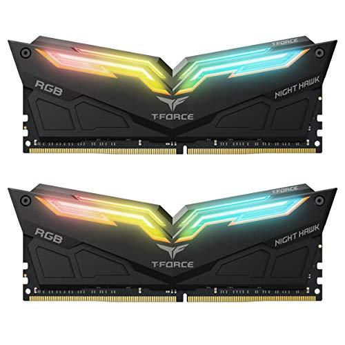 TEAMGROUP T-Force Night Hawk RGB 3600MHz 16GB Kit (2x8GB) CL18 DDR4 SDRAM (PC4-28800) Desktop Memory Module ram TF1D416G3600HC18EDC01 (Black) Delaware