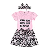 Toddler Newborn Baby Girls Sorry Boys Daddy Says No Dating Letters Print Short Sleeve T-Shirt and Pants Outfit with Headband Summer Clothes (Pink+Leopard Skirt, 3-4 Years)
