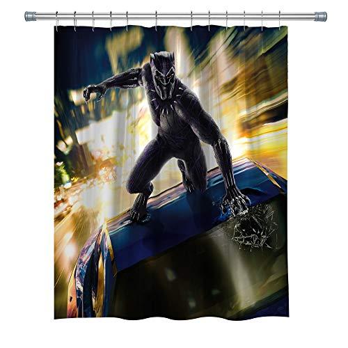 ELITE Black Panther Duschvorhang für Badezimmer, Superhelden-Dekor, Polyester, Badezimmer-Dekor-Set mit Haken, 180 x 180 cm