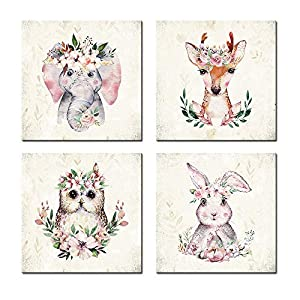 Woodland Baby Animals Floral Crowns Wall Art Canvas Set of 4 for Kids Room Decor Nordic Cute Woodland Animals Wall Pictures Art Prints Framed for Nursery Wall Home Decor
