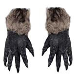 Halloween Werewolf Gloves Latex Furry Animal Gloves Wolf Claws Halloween Prop Horror Devil Party Club Supplies Creepy Gloves - Multicolor