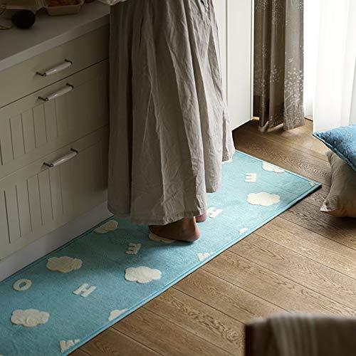キッチンマットふわもこ北欧マット45×240cmブルーcucanミルクホームMILKHOME滑り止め洗えるウォッシャブル北欧おしゃれ雲クラウド花赤ちゃんベビー子供秋冬ふわふわウレタン45240