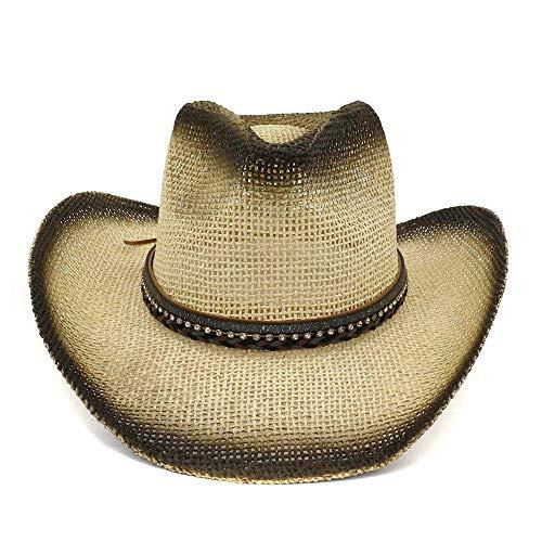 Jurk Accessoires Dames Westerse Verf Cowboy Cap Outdoor Seaside Visor Vrouwelijke Kleine Diamant Lederen Vlecht Met Grote Zonnescherm Cap Verstelbare Mode Straw Hoed Zon Hoeden