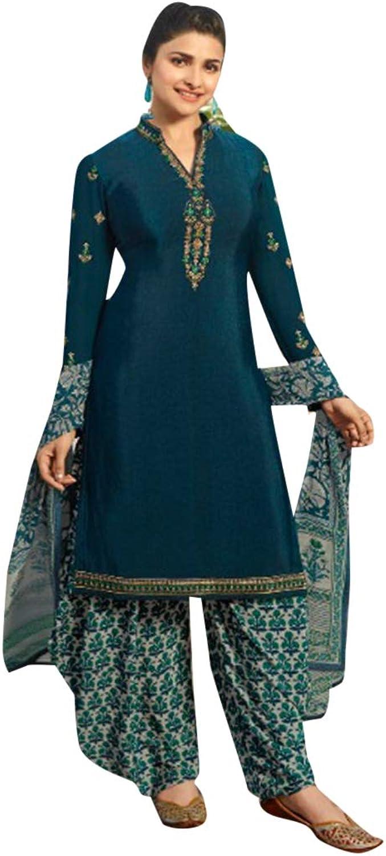 SHRI BALAJI SILK & COTTON SAREE EMPORIUM Printed Indian Ethnic Patiala Salwar Cerulean bluee Kameez Suit Casual Wear 7489