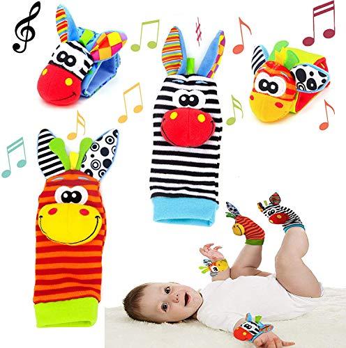 Baby Rasseln Socken Spielzeug 4PCS Handgelenk Rassel und Fuß Finder Socken Set Developmental Toys Kit für Neugeborene, Mädchen und Jungen 0 1 2 3 4 5 6 Monate