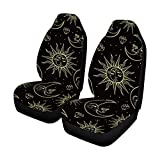 INTERESTPRINT Sun Mo on and Stars Auto Seat Covers 2 pc, Bucket Seat Protector Car Seat Cushions for Car, SUV, Truck or Van