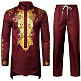 LucMatton Men's African 2 Piece Set Long Sleeve Gold Print Dashiki and Pants Outfit Traditional Suit Burgundy Medium