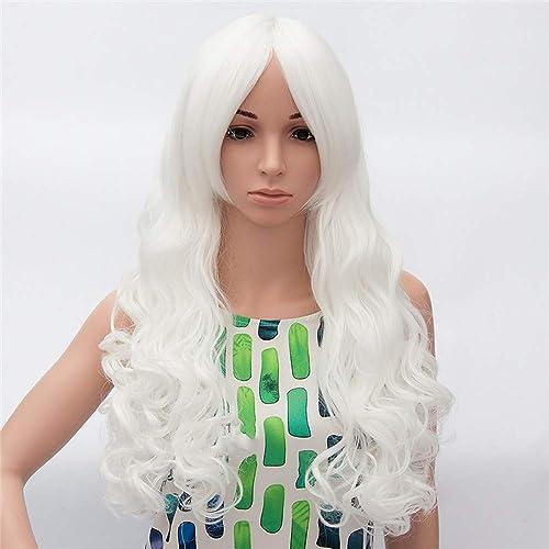 Fire wolf perruque: Femme Ondulé Blanc Cheveux Synthétiques Perruque afro-américaine Blanc Perruque Long Sans bonnet Blanc Blanc