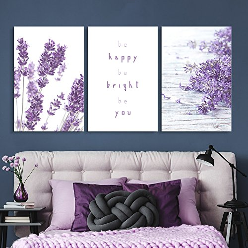 wall26 - Purple Lavender Flowers - Canvas Art Wall Decor - 16 x24 x 3 Panels
