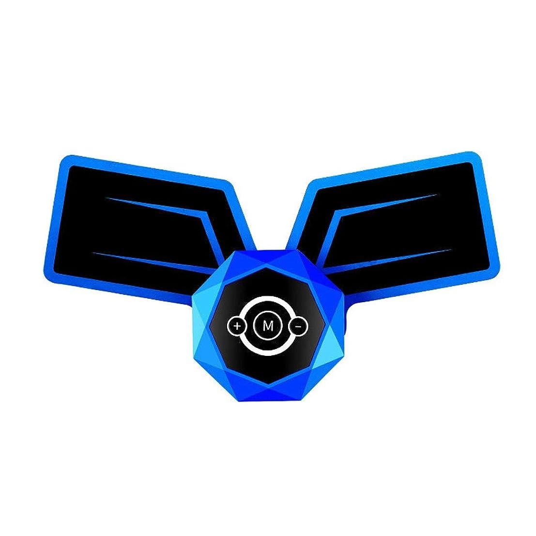 毎年牛ケージ腹筋トレーナーEMS筋肉刺激装置、インテリジェント音声ブロードキャストとUSB充電付き腹部調色ベルト、男性と女性の腹部脚用筋トナー (Color : Voice-Blue 1, Size : A)