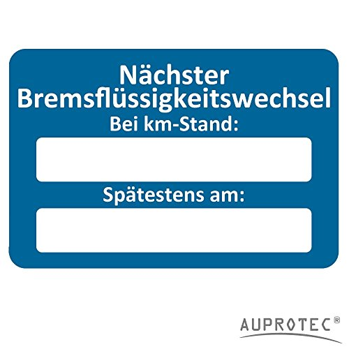AUPROTEC Kundendienst Aufkleber Werkstatt Serviceaufkleber Auswahl: 25 Stück, Nächster Bremsflüssigkeitswechsel