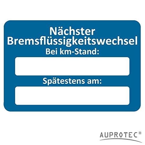AUPROTEC Kundendienst Aufkleber Werkstatt Serviceaufkleber Auswahl: 100 Stück, Nächster Bremsflüssigkeitswechsel