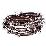 MJARTORIA Damen Armband Leder Wickelarmband mit Glitzer Silber Farbe Perlen Magnetverschluss Modeschmuck Geschenk (Braun)