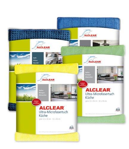 ALCLEAR 961000 Küchenset 4-teilig, enthält Ultra-Microfasertücher Küche je 32 x 36 cm, Trockenwunder 60 x 40 cm, Spülschwammtuch Antibak, 17 x 23 cm, gelb und grün