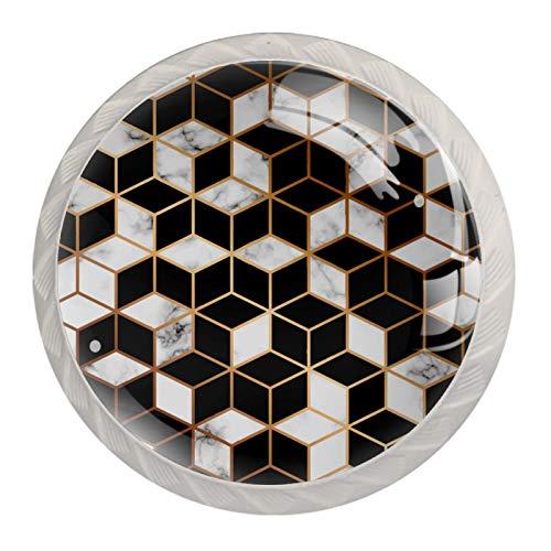Schrankknöpfe aus Glas, Griffe für Schublade, Küchenschränke, Kommoden, Kleiderschrank, 3D, schwarz, weiß, quadratisch, geometrisches Muster