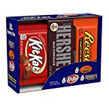 Hershey Candy bar Assorted Variety Box (HERSHEY'S Milk Chocolate, KIT KAT, REESE'S Cups), Full Size, 18Count