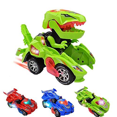 GRAWILLE Transformer Dinosaur Led Car Transforming Dinosaur Toys Dinosaur Transformer Car for 3,4,5 Years Old Kids Boys Birthday (Green)