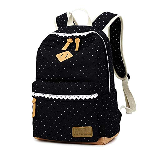 Zaino Scuola per Ragazza Donna Elementare Bambina Zainetto Media KHDZ Tela Zaini Casual Moda Backpack Portatile Sacchetti 15,6 inch Laptop Zainetti, Corsa Pacchetto con Pizzo Pois (Nero)