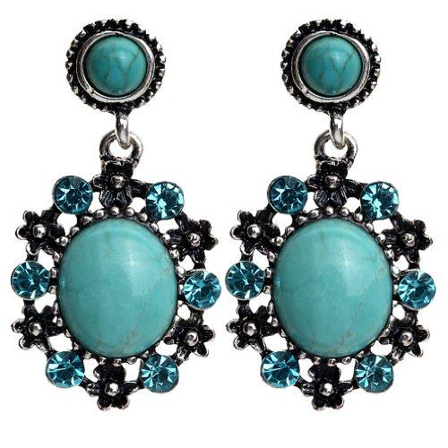 Yazilind Blue Crystal schmücken tibetischen Silber Türkis -Tropfen- Ohrhänger mit Kristall Länge : 1.6in