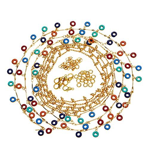 Ornaland Kit de Fabricación de Collar de Cadena de Bricolaje Kits de Joyería de Bricolaje Collar para Mujer Cadenas de Cuentas de Latón Aleación de Zinc Broches de Garra de Langosta