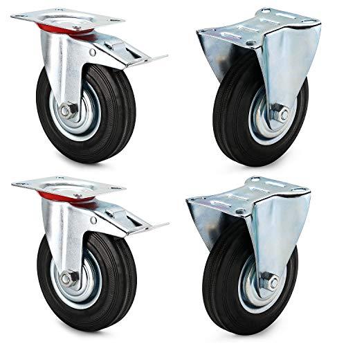 AMIGOB 4 Stück 125mm Transportrollen Lenkrollen mit Bremse Schwerlastrollen; 2x Bockrollen + 2x Lenkrollen mit Bremse;Tragfähigkeit 100KG/Rolle Schwarz Gummi Stahlblech Kapazität 300kg insgesamt