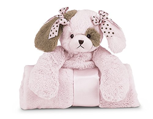 "Bearington Baby Wiggles Cuddle Me Sleeper, Pink Puppy Dog Large Size Security Blanket, 28.5"" x 28.5"""