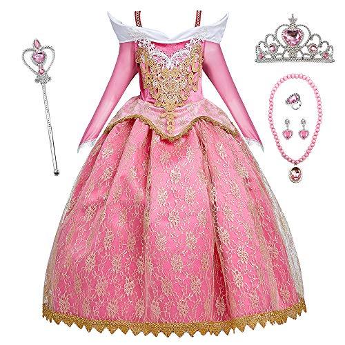 O.AMBW Disfraz Halloween Carnaval Fiesta Cosplay Princesa Aurora Bella Durmiente Vestido Regalo Adicional Accesorio Corona Collar Pendiente Anillo Varita Mgica Cumpleaos Baile Gala para Nias