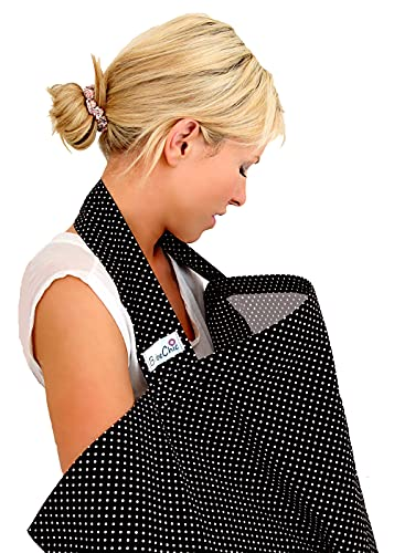 BebeChic.UK * Top Quality Oeko-Tex® Certified 100% Cotton * Breastfeeding Covers * Boned Nursing Tops - black / white dot