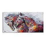 Cuadros Animal Art Dos caballos corrientes pintura de la lona de arte Arte de pared...