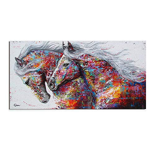 Cuadros Animal Art Dos caballos corrientes pintura de la lona de arte Arte de pared Cuadros for sala de estar moderna abstracta impresiones Carteles (Size (Inch) : 50x100cm)