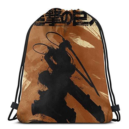 WH-CLA Drawstring Bags Anime Attack On Titan Eren Travel Men Gym Anime Bolsa De Regalo De Envoltura Liviana Saco Bolsas De Cincho Impresas Mujeres Únicas Bolsa con Cordón Bolsas De Regal