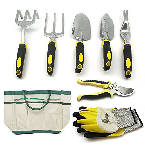 QianRuiDa 8-Piece Garden Tools Set for Gardening Aluminum Alloy Heavy Duty Kit, with Storage Tote Bag, Ergonomic Rubber Grip, Gift for Men or Women, Indoor and Outdoor Tools