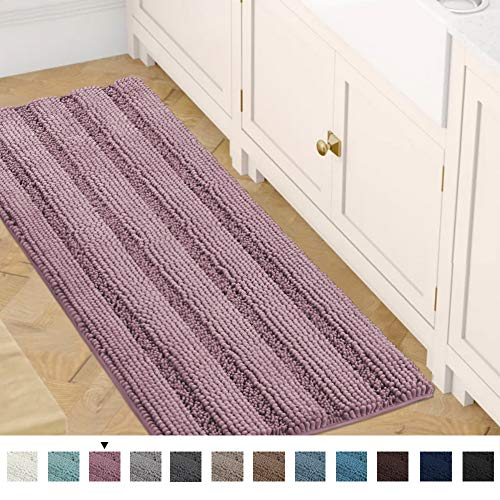 Bath Mats for Bathroom Non Slip Luxury Chenille Striped Bath Rug Runners 47x17 Absorbent Non Skid Fluffy Soft Shaggy Rugs Washable Dry Fast Plush Area Carpet Mats for Bath Room, Tub - Mauve