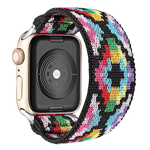Correa para iWatch 38mm 40mm, Correa de Trenzada Elástica con Nylon Compatible con Apple Watch Serie 6/5/4/3/2/1/SE, Correas de Repuesto Ajustable, Bohemia Multicolor