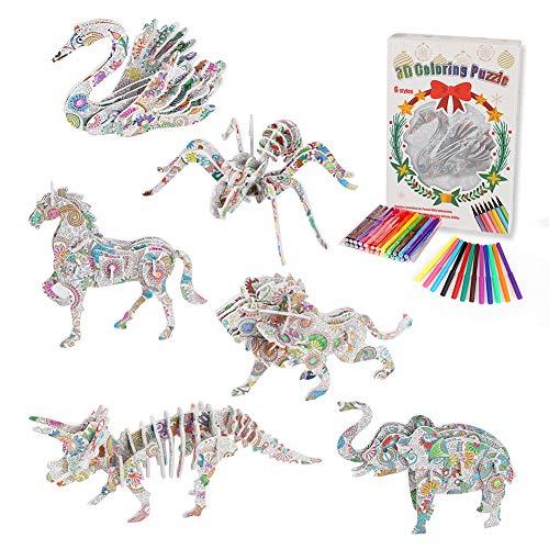 Yuccer 3D-Farbpuzzleset mit 6 Tieren, 3D Puzzle zum Ausmalen für Kinder Bastelset für Mädchen und Jungen 7 8 9 10 11 12 Jahren, 24 Markerstiften, Weihnachten Geburtstagsgeschenk (6 Packung)